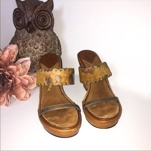 SAM EDELMAN brown calf hair slide wedge sandals